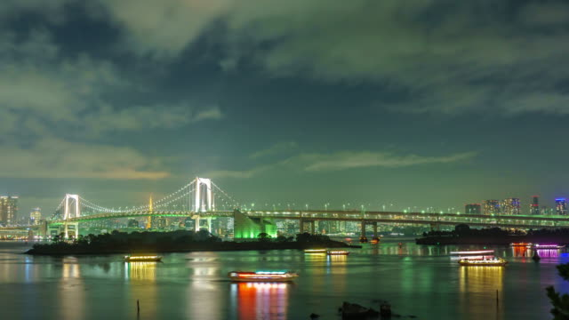 Time Lapse : Rainbow Bridge and Tokyo tower in Tokyo, Japan. video
