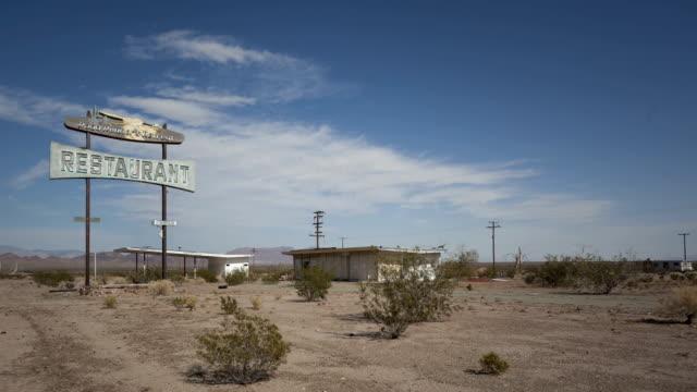 Time lapse Route 66 vintage rotten restaurant video