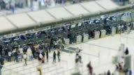 4K time lapse rush hour the crowd checking or buy flight ticket at airport video