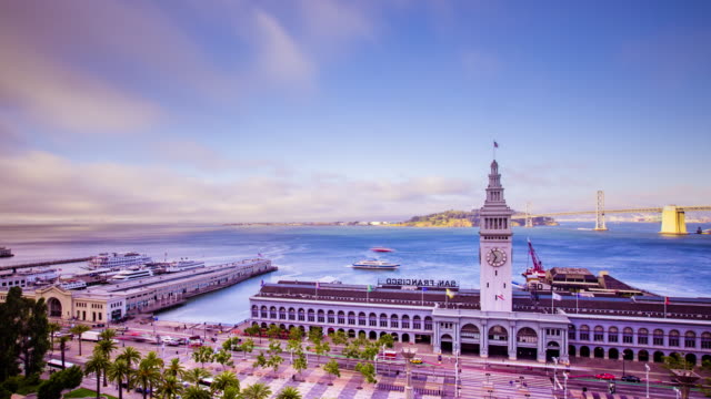 Time lapse - San Francisco Ferry Building with Ferries - 4K video