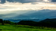 Time lapse - scenes of sunset at Terraced rice fields in Chiang Mai, Thailand (pan shot) video