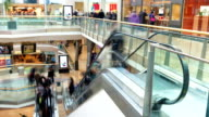 Time Lapse Sequence Of Shoppers On Escalators In Mall video