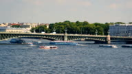 Time lapse sequence of Trinity bridge across the Neva river video