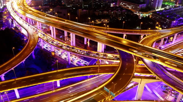 Time Lapse - Shanghai Highway at Night (Zoom) video