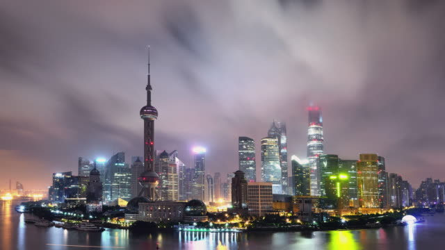 Time Lapse (Zoom In) - Shanghai Panoramic Skyline at Night video