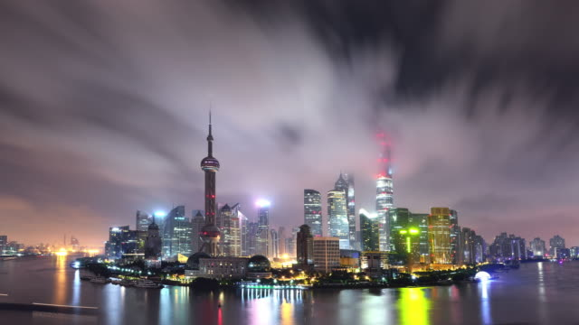 Time Lapse - Shanghai Panoramic Skyline at Night video