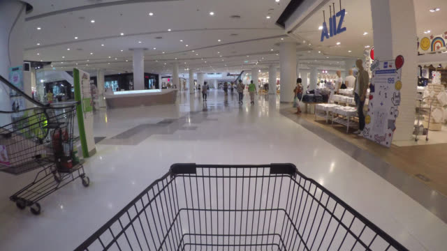 Time lapse shopping cart in supermarket video