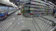 4K Time lapse Shopping cart moving in supermarket video