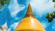 Time Lapse Shot of Amazing Large Golden Pagoda with Blue Sky video