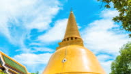 Time Lapse Shot of Beautiful Large Golden Pagoda with Blue Sky video