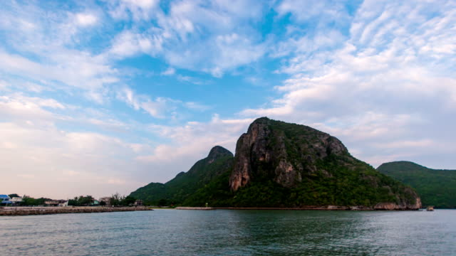 Time Lapse shot of Beautiful Mountain in Sea Shore in the Morning. video