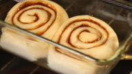 Time lapse shot of cinnamon rolls baking in oven video