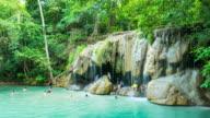 Time Lapse Shot of People at Erawan Waterfall, Kanchanaburi, Thailand video