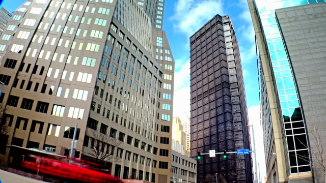 A time lapse shot of tall buildings at the corner of 5th and Ross Streets in downtown Pittsburgh, Pennsylvania. video