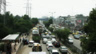 Time lapse shot of traffic on road in a city, Delhi, India video