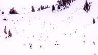 Time Lapse - Skiers Skiing Down the Slope video