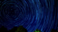 Time lapse star trails on night sky video