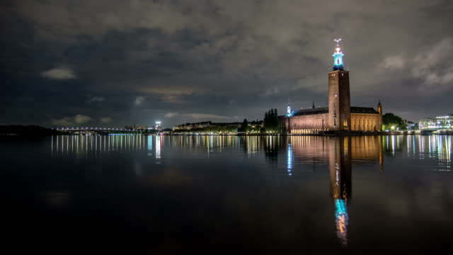 HD Time Lapse: Stockholm City Hall at Night Tilt video