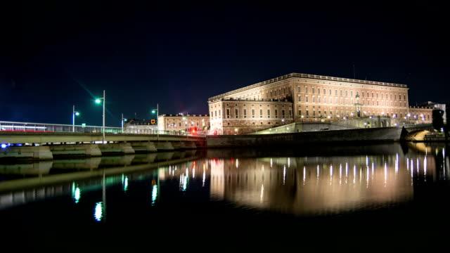 HD Time Lapse: Stockholm Palace at Night Tilt video