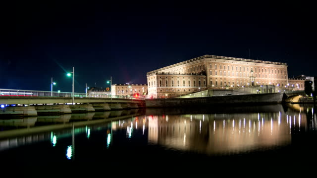 HD Time Lapse: Stockholm Palace at Night video