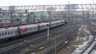 Time lapse. Suburban electric trains are going to the station. video