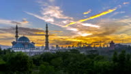 Time lapse. Sunrise at Federal Mosque, Kuala Lumpur with silhouette Kuala Lumpur city skyline. video