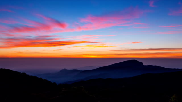 Time Lapse Sunrise On Valley At Doi Inthanon National Park Of Chiang Mai, Thailand video
