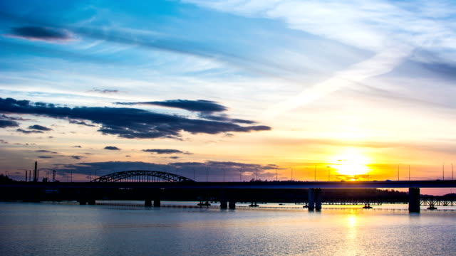 HD Time Lapse: Sunset and Bridge video