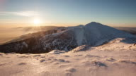Time lapse Sunset in mountain at winter, Slovakia, Mala Fatra video