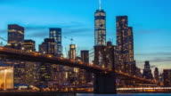 Time lapse sunset shot of lower Manhattan and Brooklyn bridge, New York, USA video