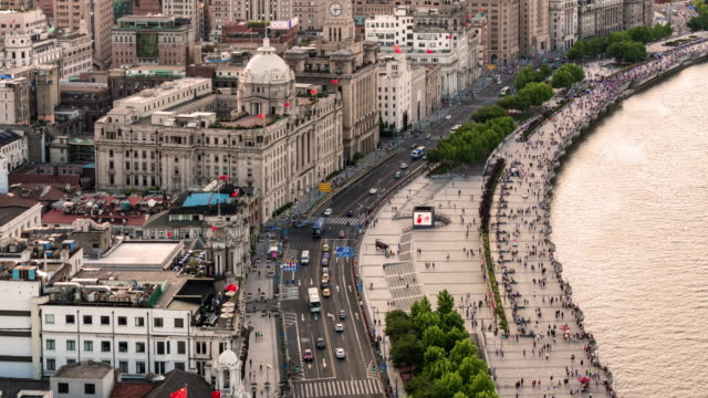 Time Lapse The busy traffic in the bund,shanghai video