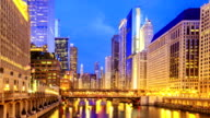 Time lapse : The Chicago downtown riverside at night. video