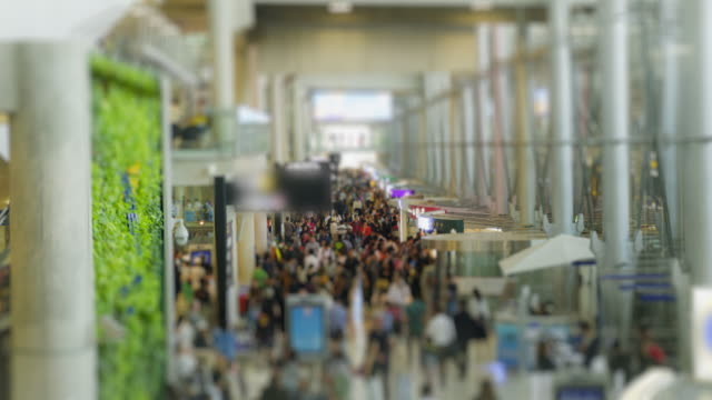 4K time lapse the crow of rush hour at airport video
