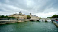 time lapse the Seine river, Paris city, France video