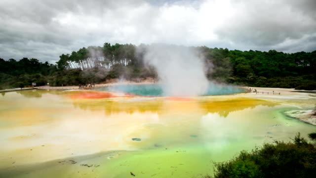 Time Lapse Thermal Lake, Champagne Pool at Wai-O-Tapu near Rotorua, New Zealand video