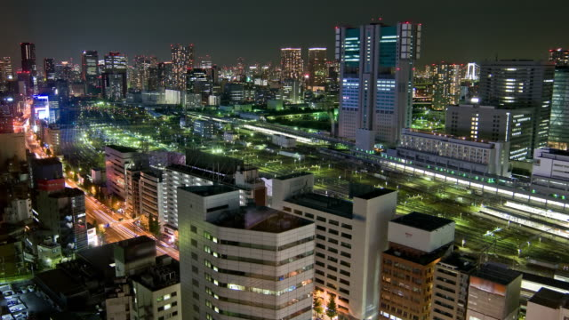Time Lapse - Tokyo Skyline with trains and traffic video