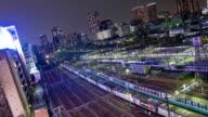 Time lapse - Tokyo trainyard at night video