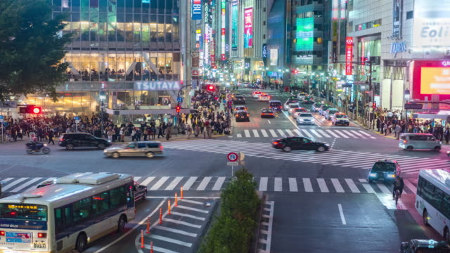 4K Time Lapse : Tokyo's Shibuya pedestrian crossing also known as Shibuya video