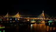 Time lapse top view of activities on river. At Rama 9 bridge, Chophraya river, in night time in Bangkok, Thailand. video
