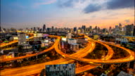 HD Time Lapse : Top view of Expressway and Highway on twilight time, Bangkok, Thailand video