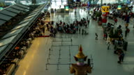 HD Time Lapse : Top view of passengers in airport check in zone video