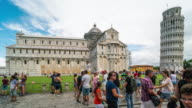 Time Lapse, Tourist visiting at Leaning Tower of Pisa, Italy video