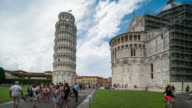 Time Lapse, Tourist walking at Leaning Tower of Pisa, Italy video