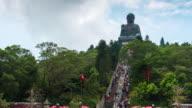 Time Lapse : Tourists visit Tian Tan Buddha at Ngong Ping, Hongkong video