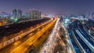 Time lapse traffic at night in Seoul, South Korea. video