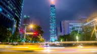 Time Lapse - Traffic at Night with Taipei 101 in the Background video