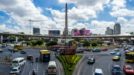 Time Lapse - Traffic at victory monument in Bangkok city video