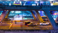 Time lapse : Traffic in front of the Suvarnabhumi Airport, Thailand video