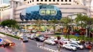 HD Time lapse : Traffic jam at MBK shopping center Bangkok Thailand video