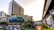 Time lapse : Traffic jam at MBK shopping center Bangkok Thailand video